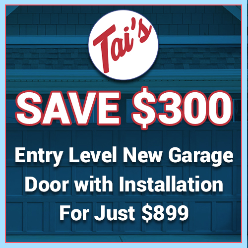 Entry Level New Garage Door with Installation Best Deal from Tai's Garage Doors & Locksmith. Save $300!